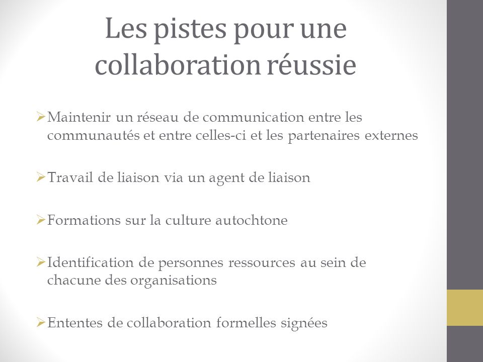 Les pistes pour une collaboration réussie