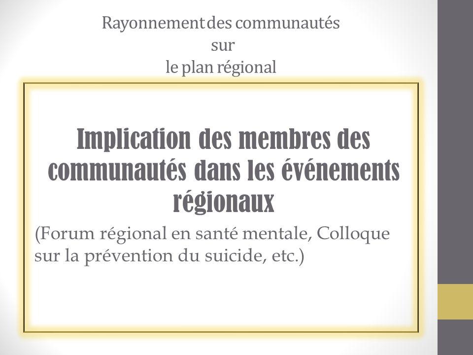 Rayonnement des communautés sur le plan régional
