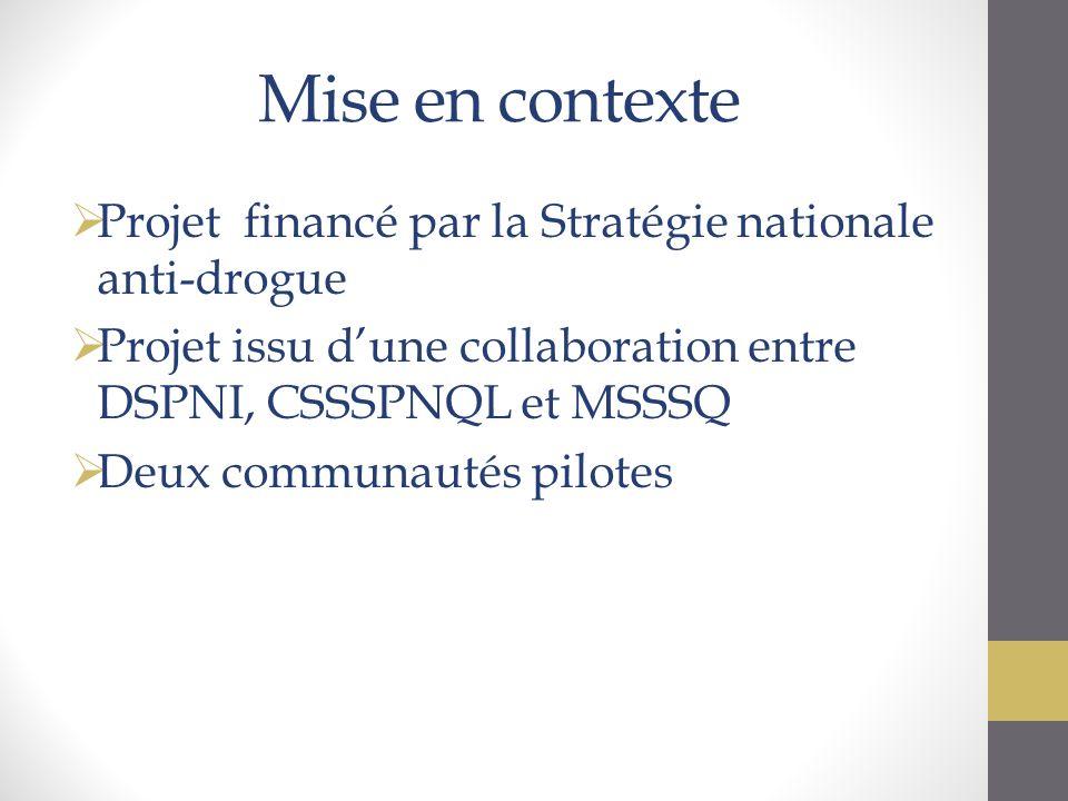 Mise en contexte Projet financé par la Stratégie nationale anti-drogue