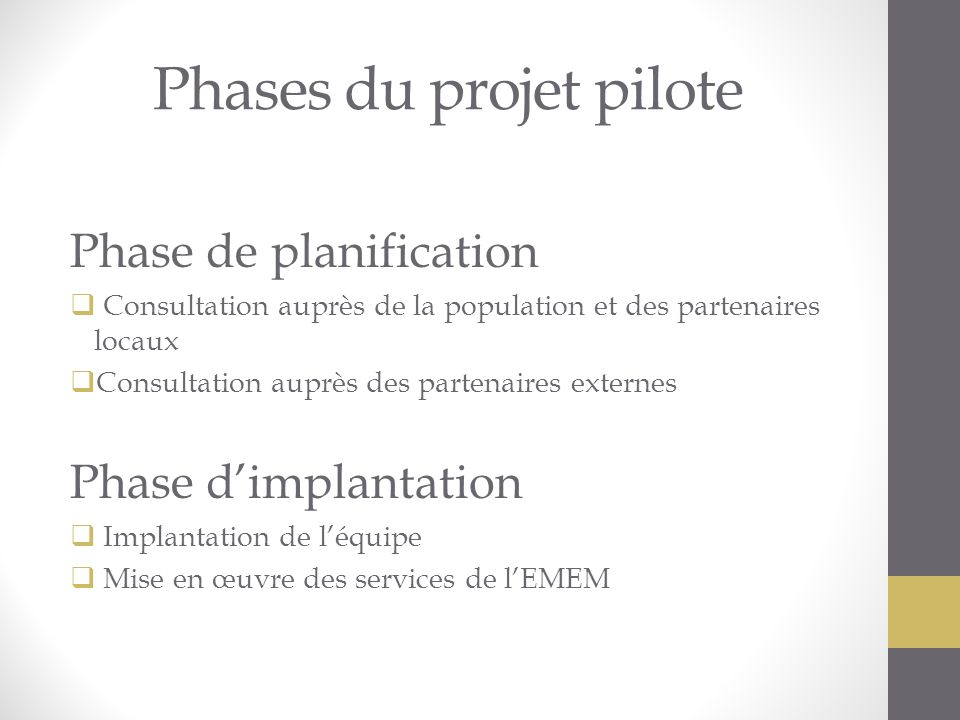Phases du projet pilote