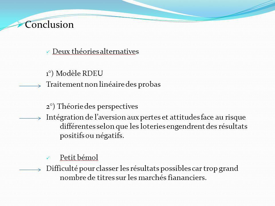 Conclusion Deux théories alternatives 1°) Modèle RDEU