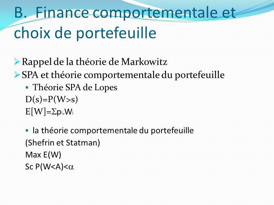 B. Finance comportementale et choix de portefeuille