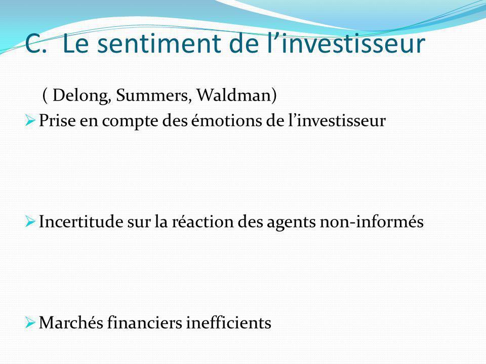 C. Le sentiment de l'investisseur