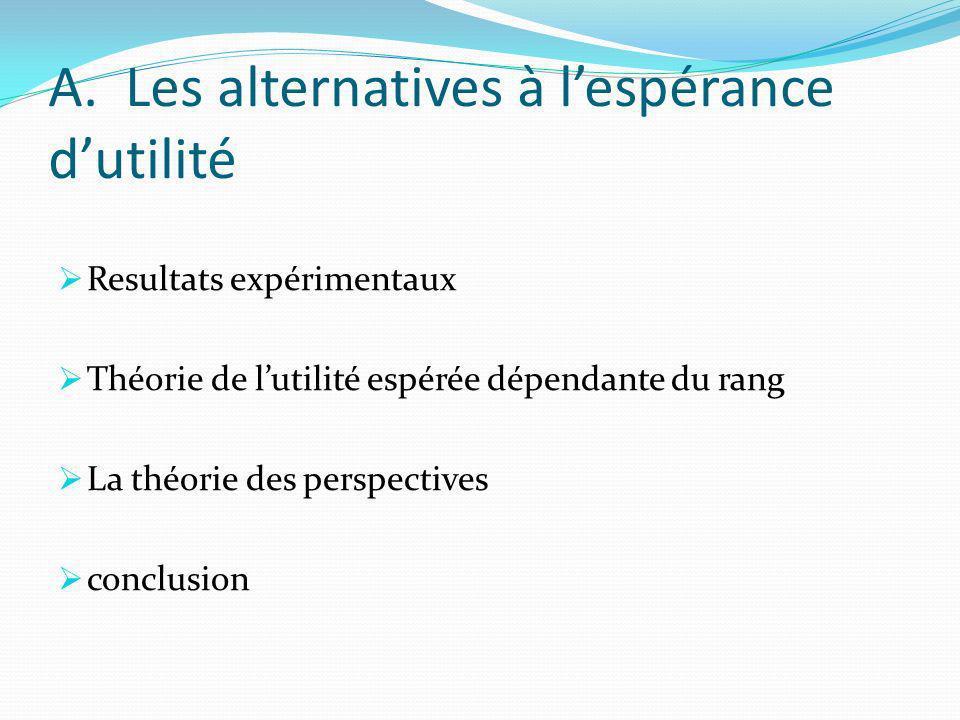 A. Les alternatives à l'espérance d'utilité