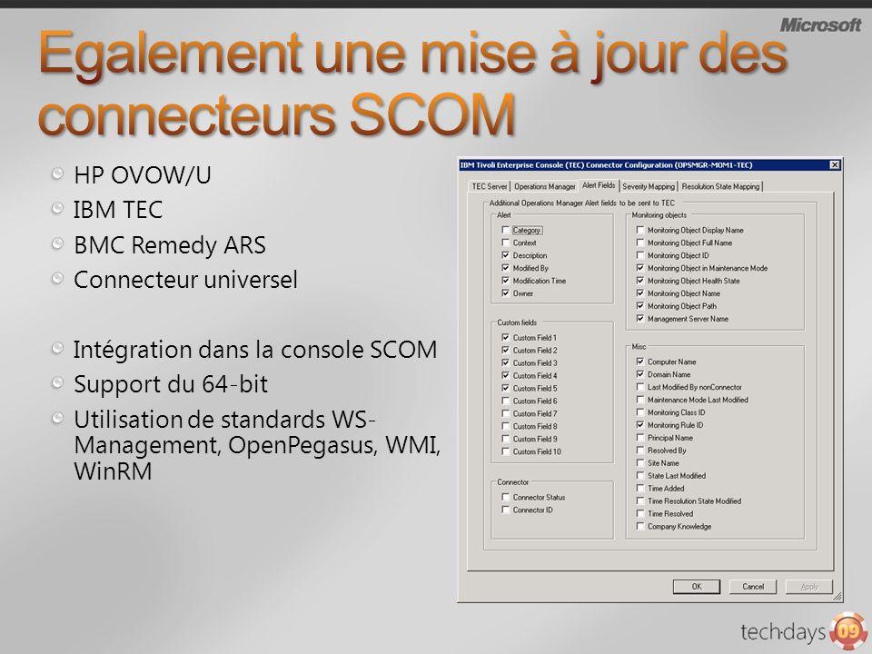 Egalement une mise à jour des connecteurs SCOM