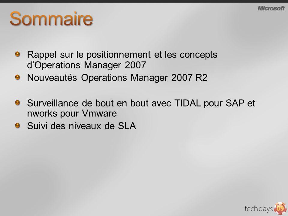 Sommaire Rappel sur le positionnement et les concepts d'Operations Manager 2007. Nouveautés Operations Manager 2007 R2.