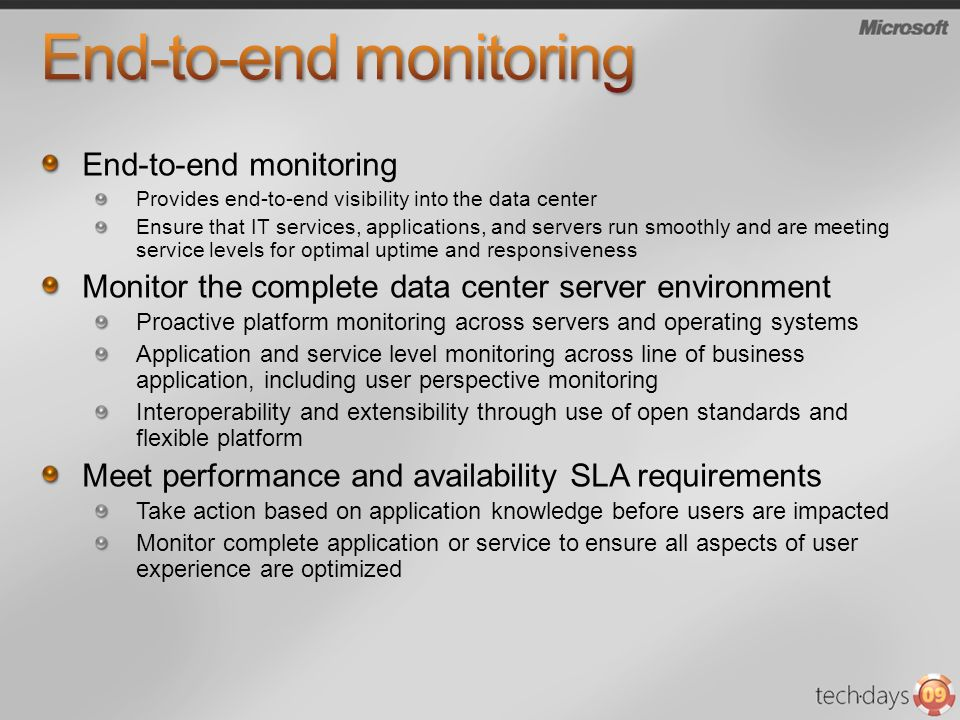 End-to-end monitoring