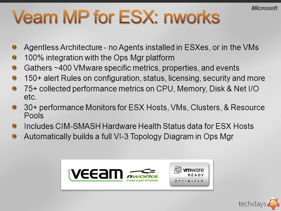 Veam MP for ESX: nworks Agentless Architecture - no Agents installed in ESXes, or in the VMs. 100% integration with the Ops Mgr platform.