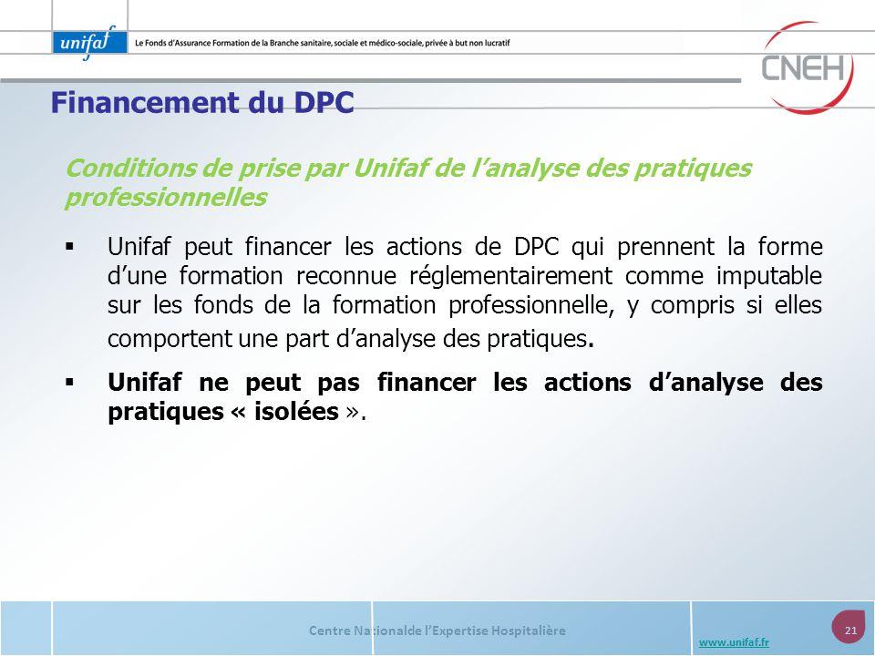 Financement du DPC Conditions de prise par Unifaf de l'analyse des pratiques professionnelles.