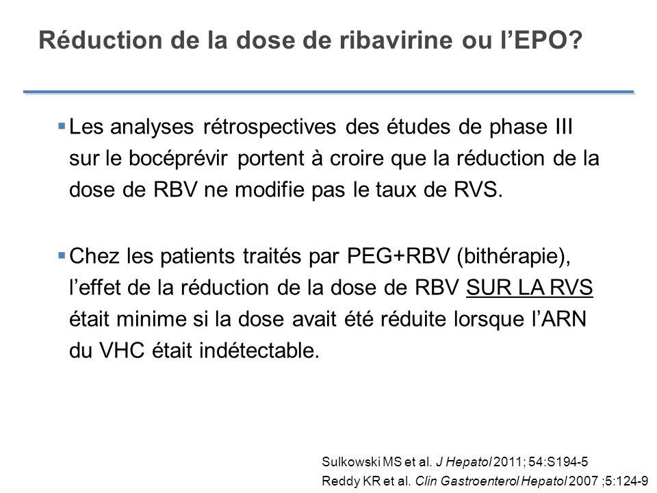 Réduction de la dose de ribavirine ou l'EPO