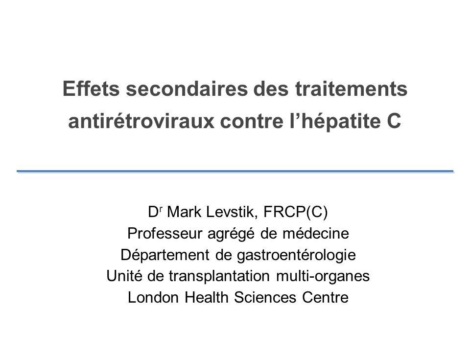Effets secondaires des traitements antirétroviraux contre l'hépatite C