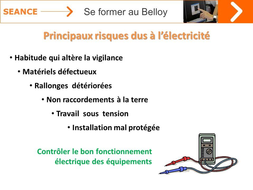 Principaux risques dus à l'électricité