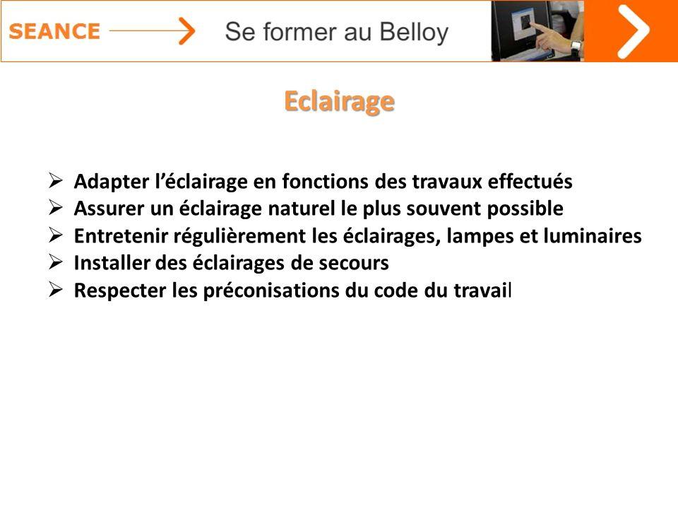 Eclairage Adapter l'éclairage en fonctions des travaux effectués