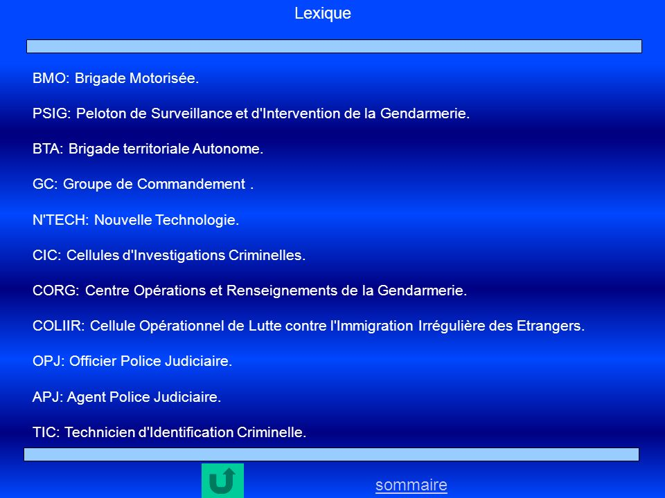 Lexique sommaire BMO: Brigade Motorisée.