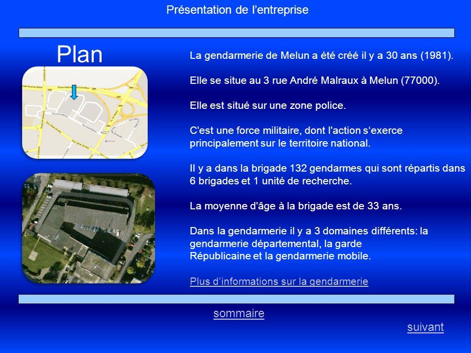 Plan Présentation de l'entreprise sommaire suivant
