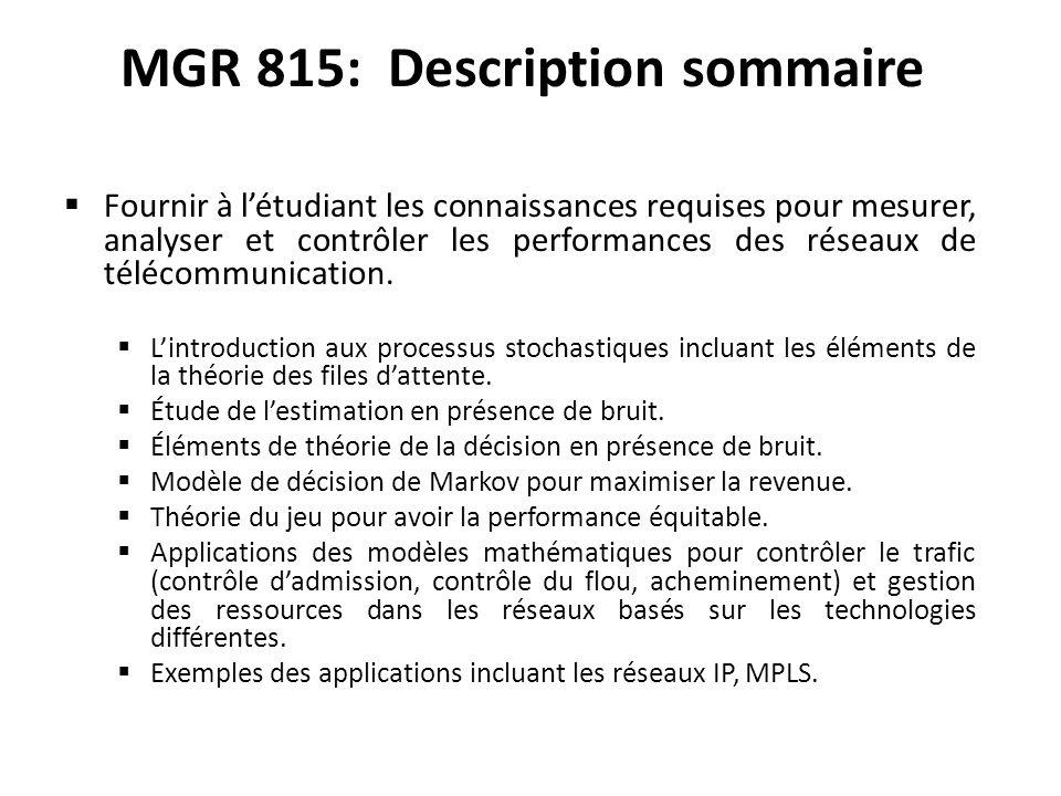 MGR 815: Description sommaire