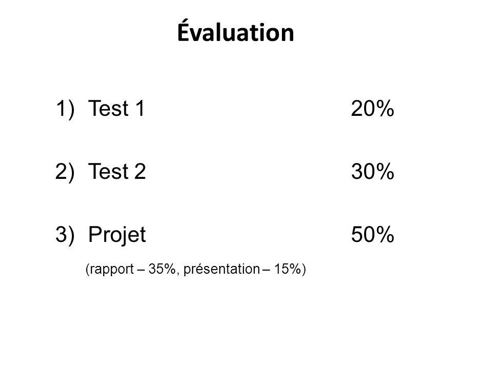 Évaluation Test 1 20% Test 2 30% Projet 50%