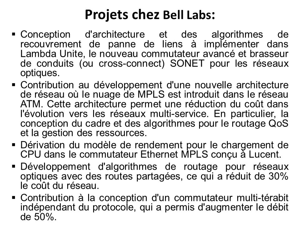 Projets chez Bell Labs: