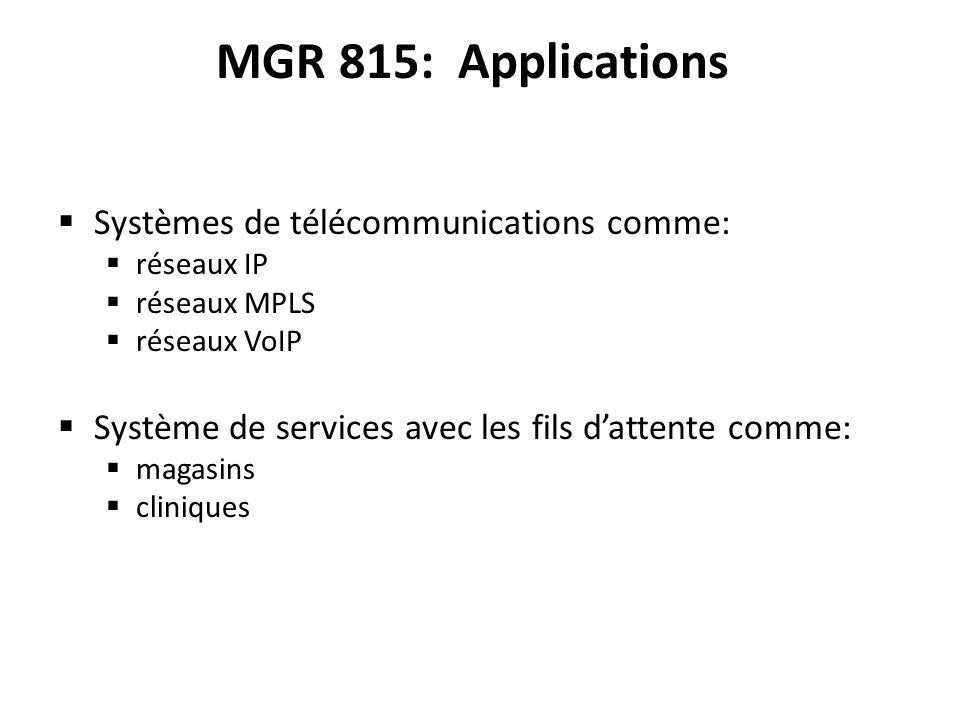 MGR 815: Applications Systèmes de télécommunications comme: