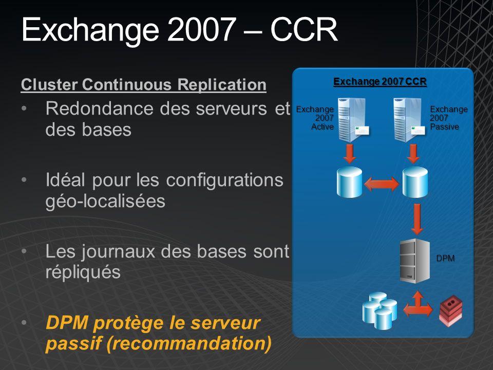Exchange 2007 – CCR Redondance des serveurs et des bases