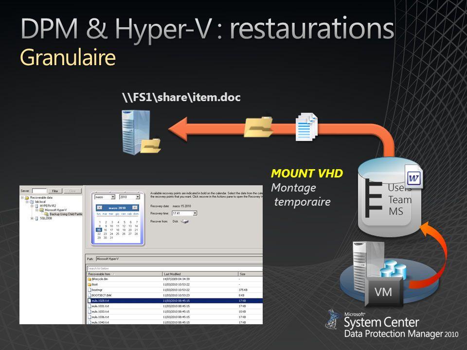 DPM & Hyper-V : restaurations Granulaire