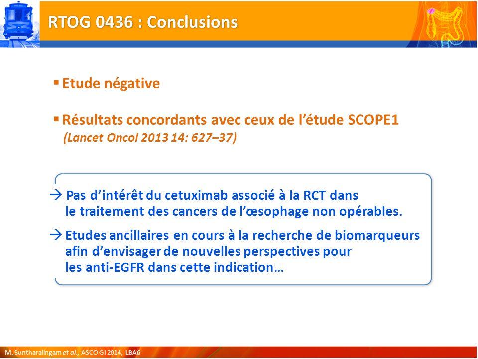 RTOG 0436 : Conclusions Etude négative
