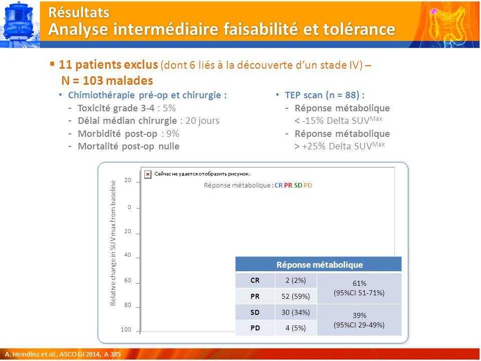 Résultats Analyse intermédiaire faisabilité et tolérance