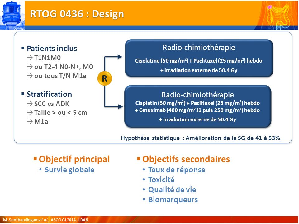 RTOG 0436 : Design R Objectif principal Objectifs secondaires