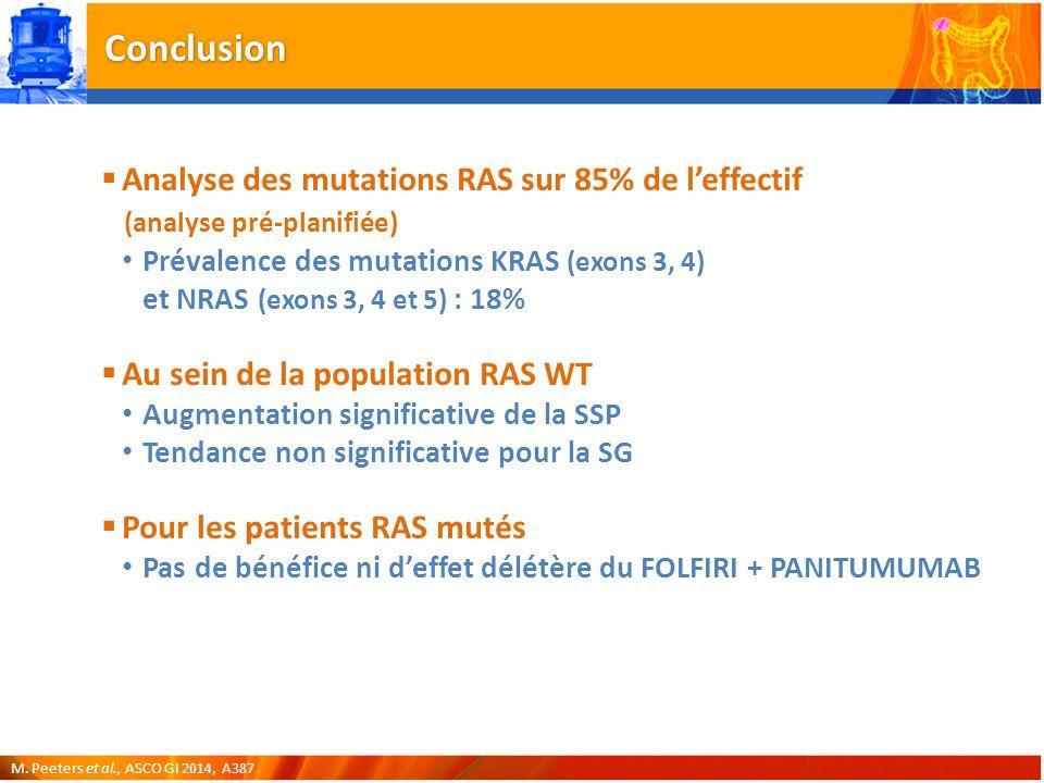 Conclusion Analyse des mutations RAS sur 85% de l'effectif (analyse pré-planifiée)
