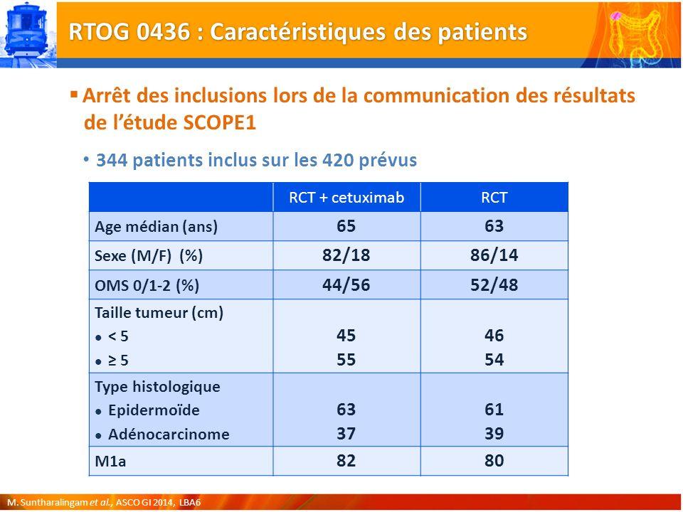RTOG 0436 : Caractéristiques des patients