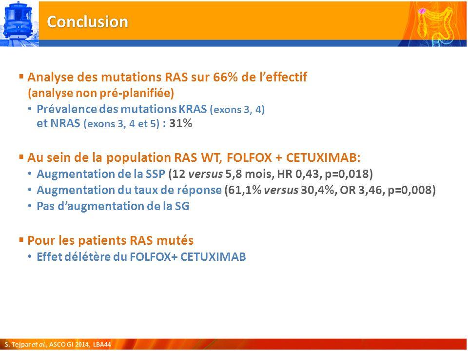 Conclusion Analyse des mutations RAS sur 66% de l'effectif (analyse non pré-planifiée)