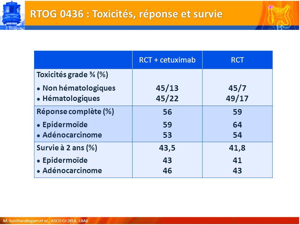 RTOG 0436 : Toxicités, réponse et survie