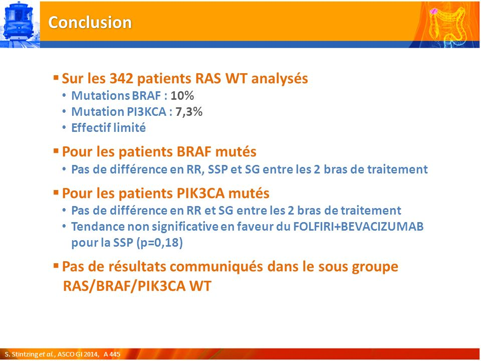 Conclusion Sur les 342 patients RAS WT analysés