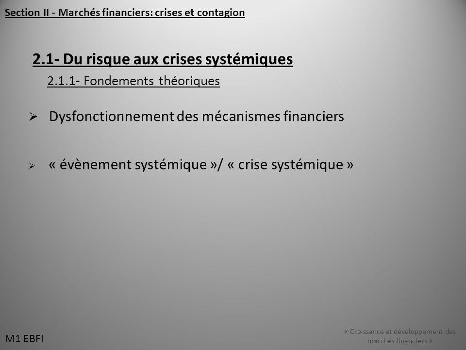 Section II - Marchés financiers: crises et contagion