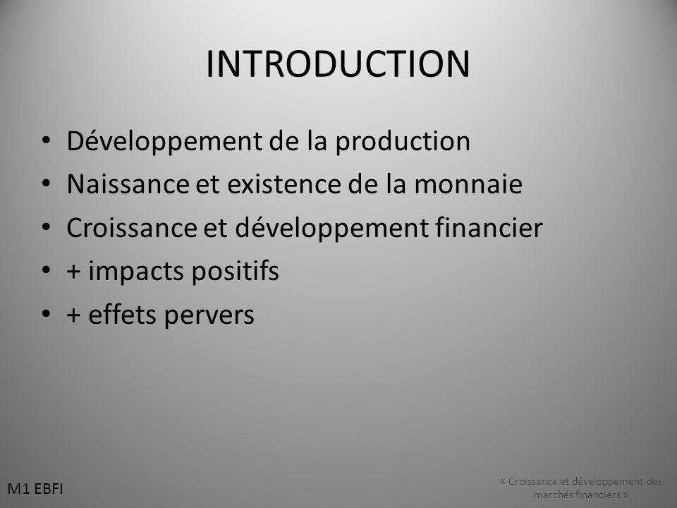 « Croissance et développement des marchés financiers »