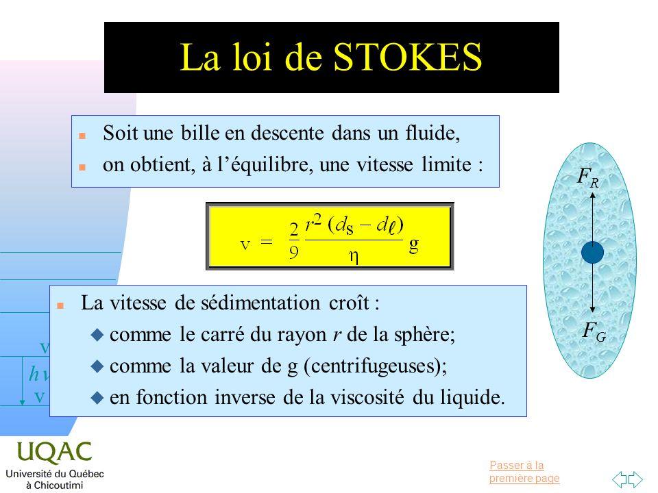 La loi de STOKES Soit une bille en descente dans un fluide,