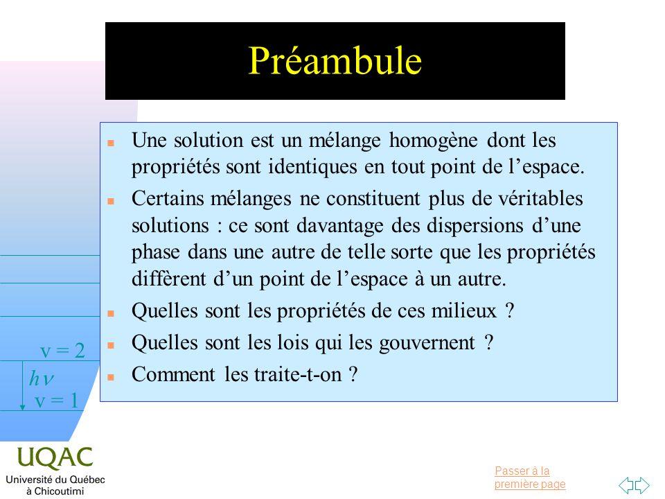 Préambule Une solution est un mélange homogène dont les propriétés sont identiques en tout point de l'espace.