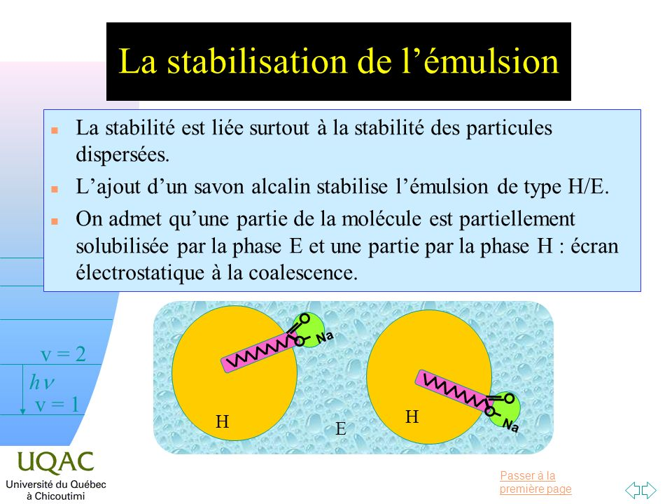 La stabilisation de l'émulsion