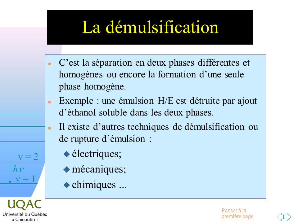 La démulsification électriques; mécaniques; chimiques ...