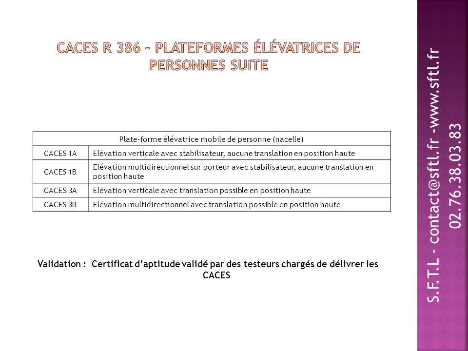 CACES R 386 – Plateformes élévatrices de personnes suite