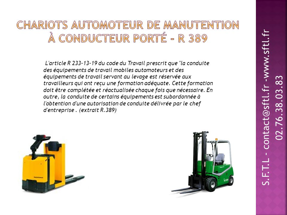 Chariots automoteur de manutention à conducteur porté - R 389
