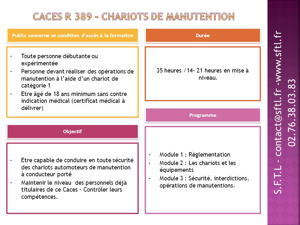 CACES R 389 – Chariots de manutention