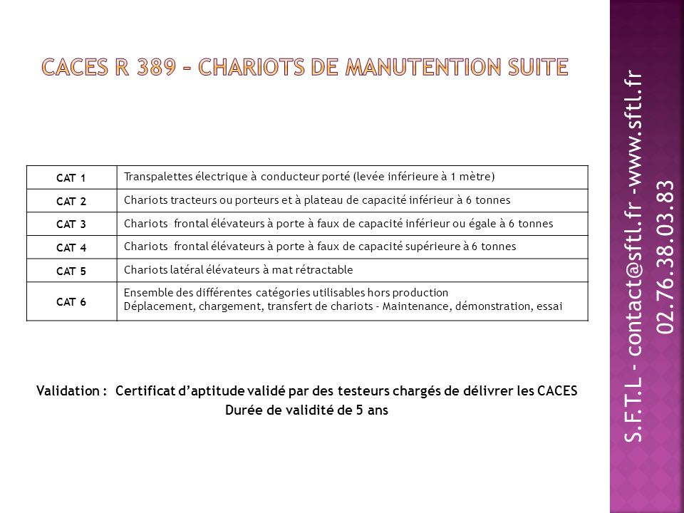 CACES R 389 – Chariots de manutention suite