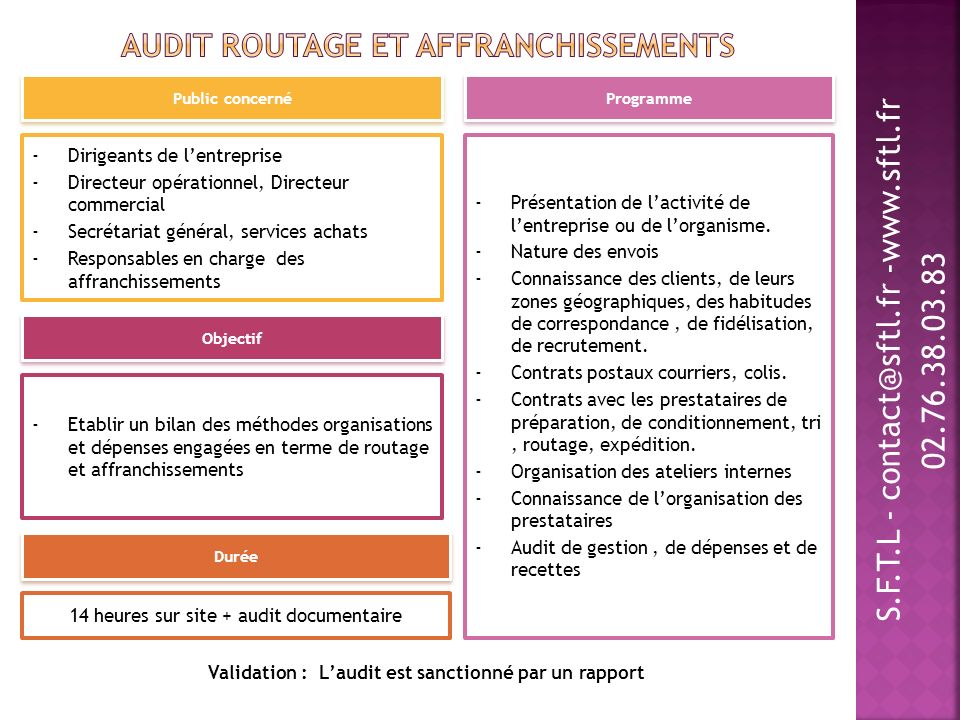 Audit routage et affranchissements