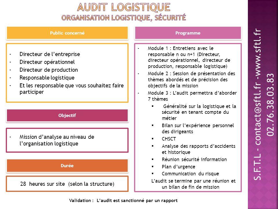 Audit logistique Organisation logistique, sécurité