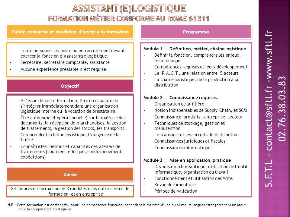 Assistant(e)Logistique Formation métier conforme au ROME 61311