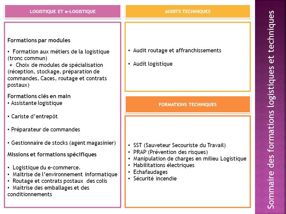LOGISTIQUE ET e-LOGISTIQUE FORMATIONS TECHNIQUES