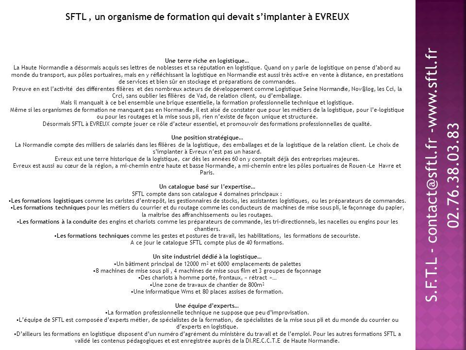 SFTL , un organisme de formation qui devait s'implanter à EVREUX