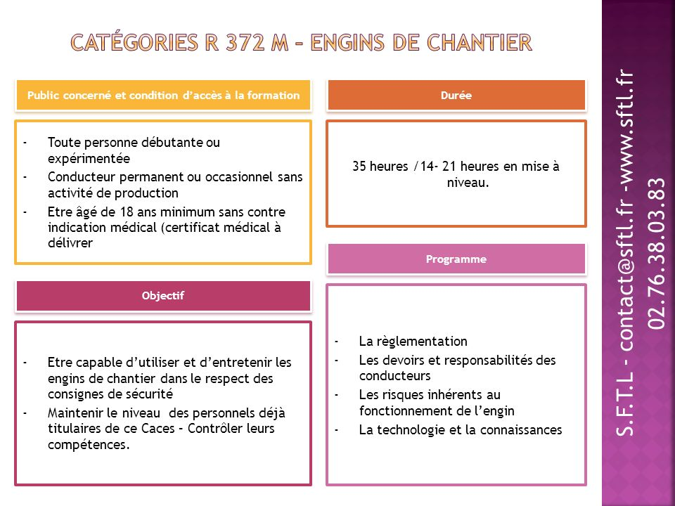 Catégories R 372 M – Engins de chantier