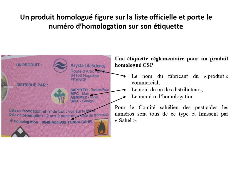 Un produit homologué figure sur la liste officielle et porte le numéro d'homologation sur son étiquette